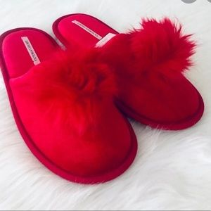 Victoria's Secret Red Pom Pom slippers